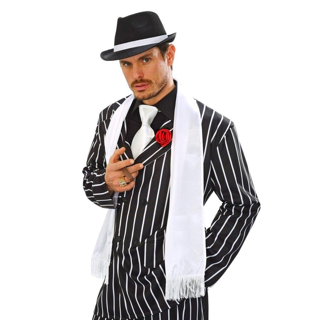 20er Jahre Satin Schal Mafia Schultertuch mit Fransen Gangster Tuch Edler Satinschal Charleston Fransenschal Charleston Kostüm Zubehör NET TOYS