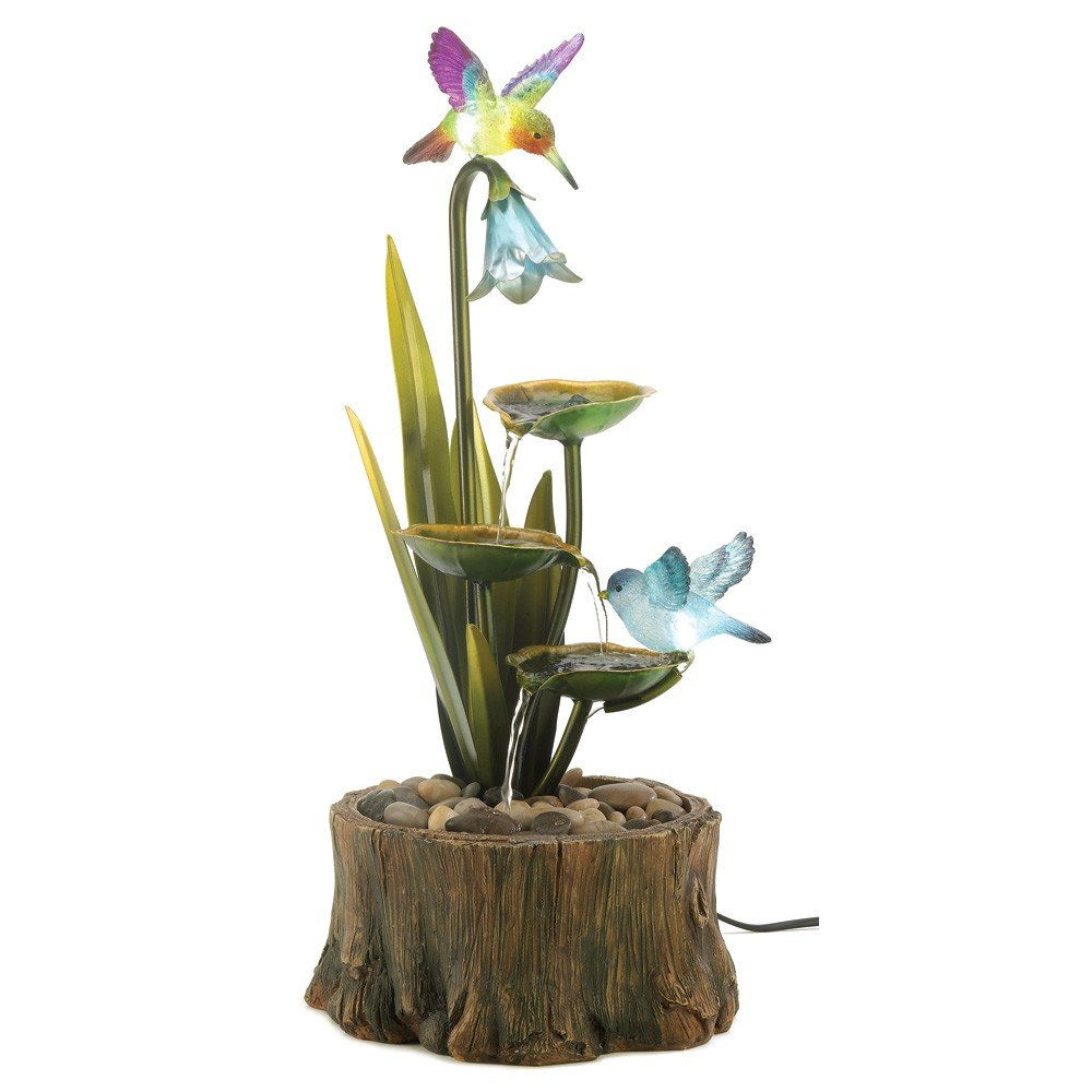 Hummingbird Haven Home Garden Decor Water Fountain