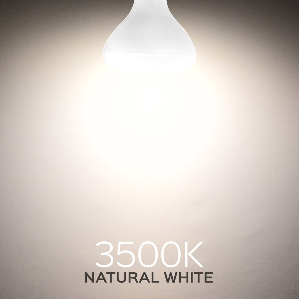 Luxrite BR40 LED Light Bulbs, 85W Equivalent, 3500K Natural White, Dimmable, 1100 Lumen, LED Flood Light Bulb, 14W, E26 Medium Base, Indoor/Outdoor - Perfect for Office and Recessed Lighting (12 Pack) by Luxrite (Image #4)