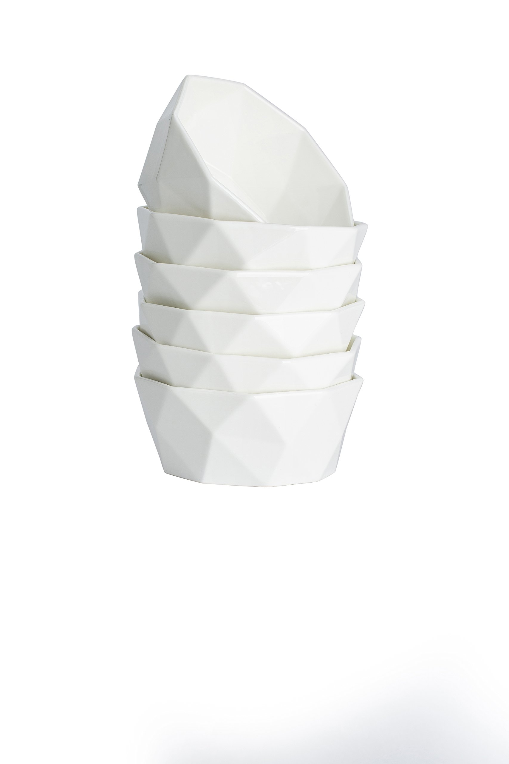 20-Ounce Porcelain Bowl Set for Cereal, Salad and Desserts, Set of 6,White,by HITFUN