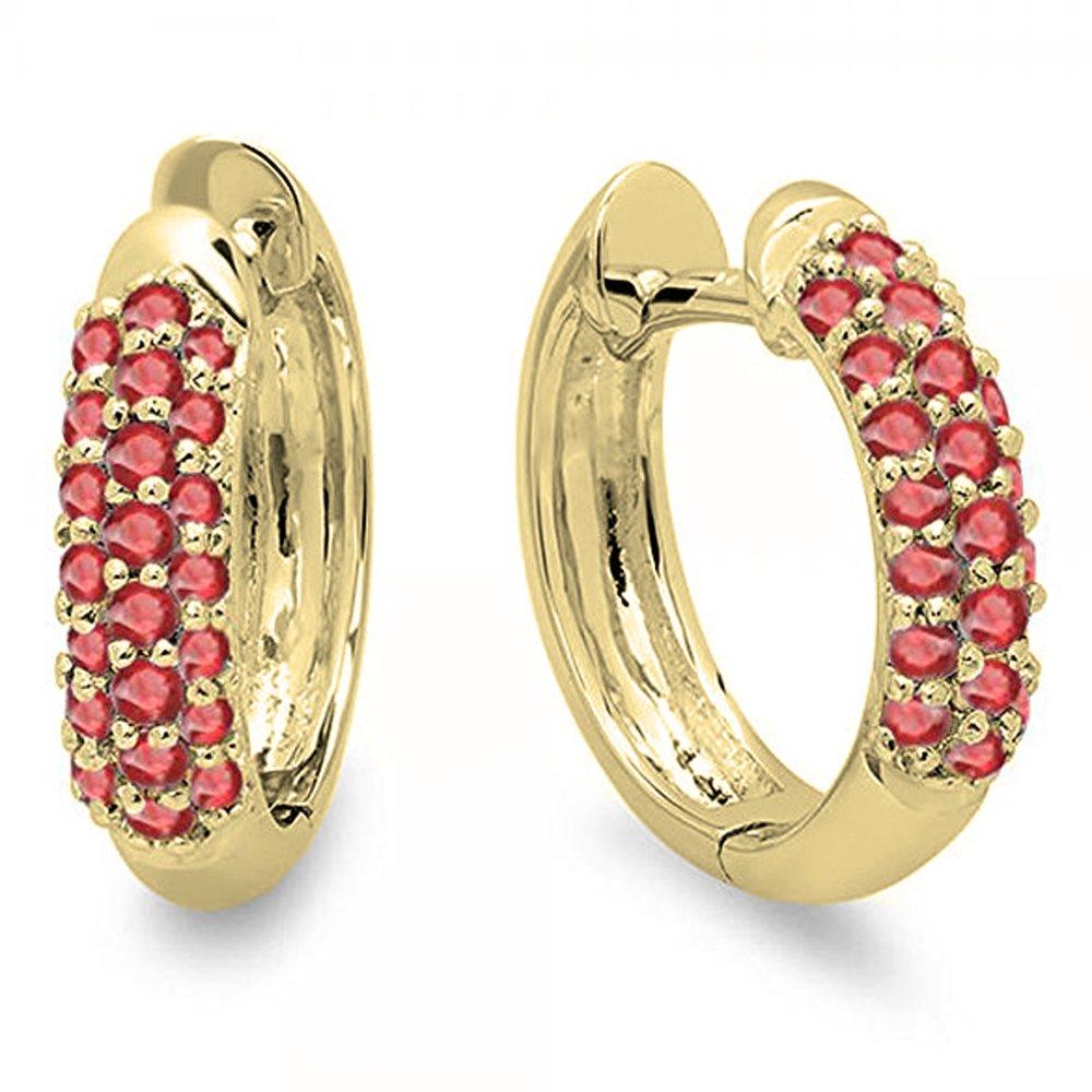 0.30 Carat (ctw) 14K Yellow Gold Round Ruby Ladies Pave Set Huggies Hoop Earrings 1/3 CT