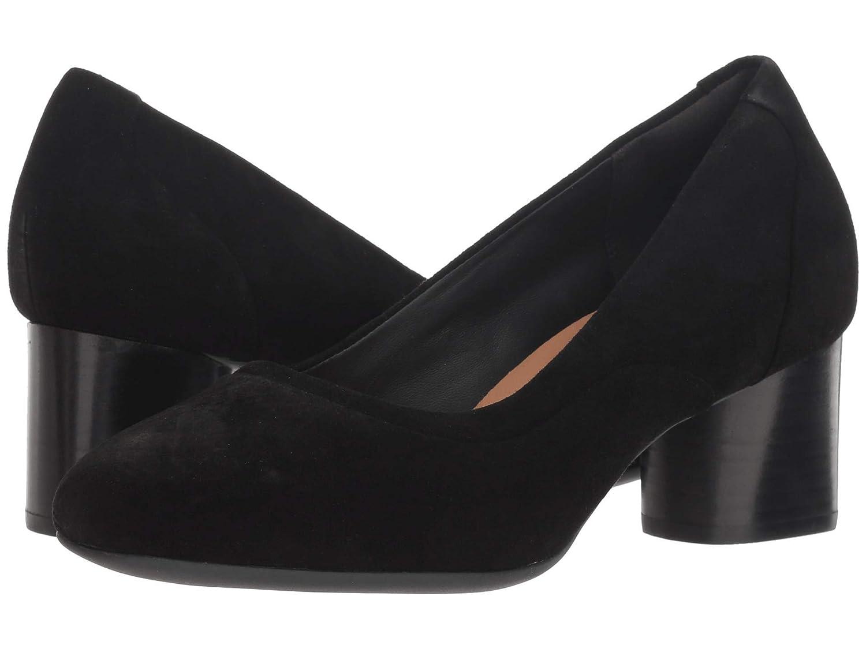Black Suede Clarks Womens Un Cosmo Step Block Heel