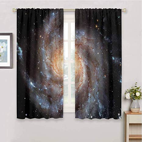 Amazon Com Dimica Soundproof Curtains For Bedroom Galaxy Stars In Galaxy Spiral Planet Outer Space Nebula Astronomy Themed Image Print Bedroom Decor Blackout Shades W52 X L84 Inch Black Beige Violet Home