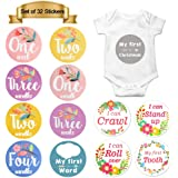 MFLABLE 32pcs Baby Monthly Milestone Stickers, Birth to 12 Months and 3 Week, Newborn Monthly Milestone Stickers, Uniquely Designed for Boys or Girls First Year