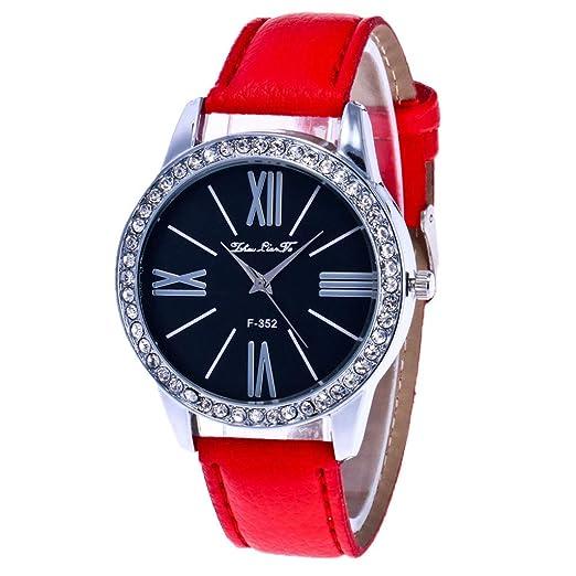 Zhou Lianfa Simple Fashion Kreative Diamant - Reloj de pulsera para mujer rojo