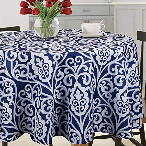 Lahome Damask Floral Pattern Tablecloth – Stain Resistant Polyester Table Cover for Kitchen Dining Room Restaurant Party Decoration (Round – 60″, Blue)