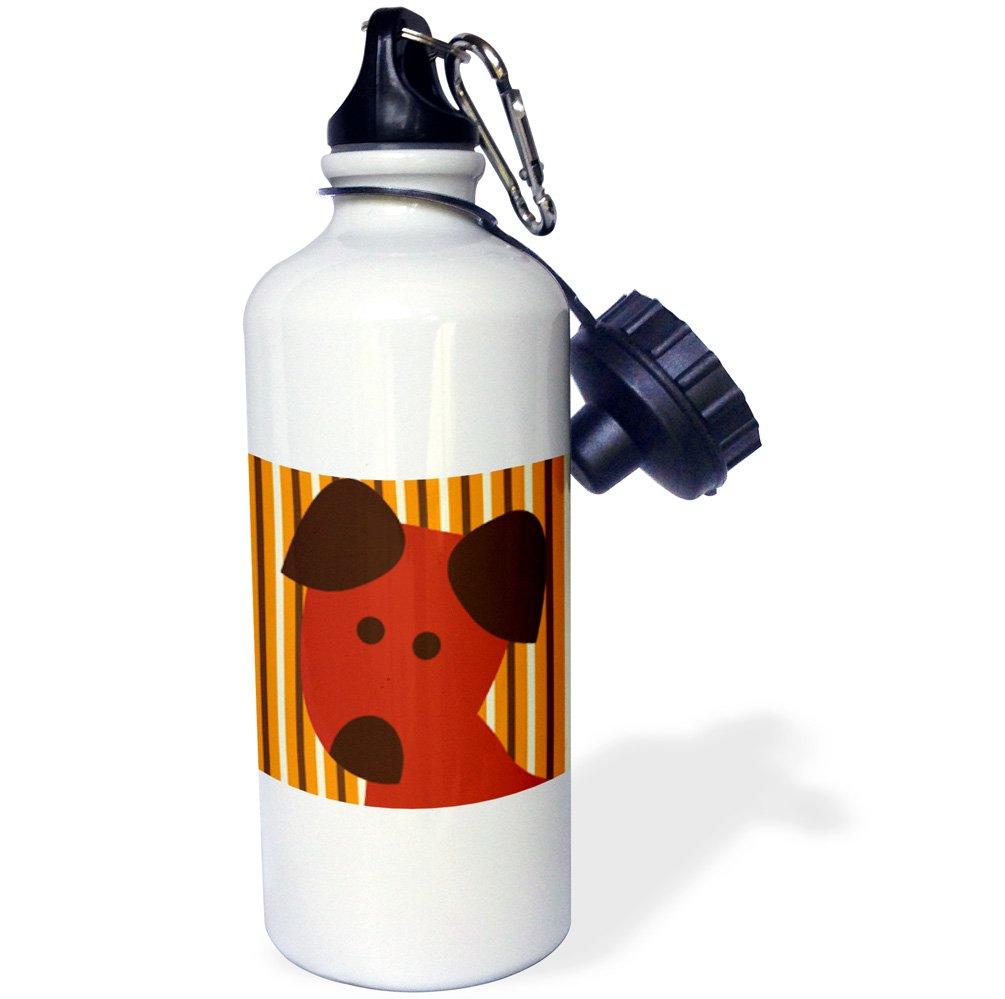 3dRose wb_63505_1 ''Cute Dog Face Pets Animal Art'' Sports Water Bottle, 21 oz, White