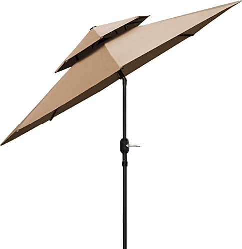 Patiassy 2020 Upgraded 9 Feet Double Top Outdoor Patio Umbrella