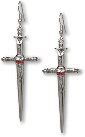 Gothic Skull on Sword Medieval Renaissance Pewter Earrings