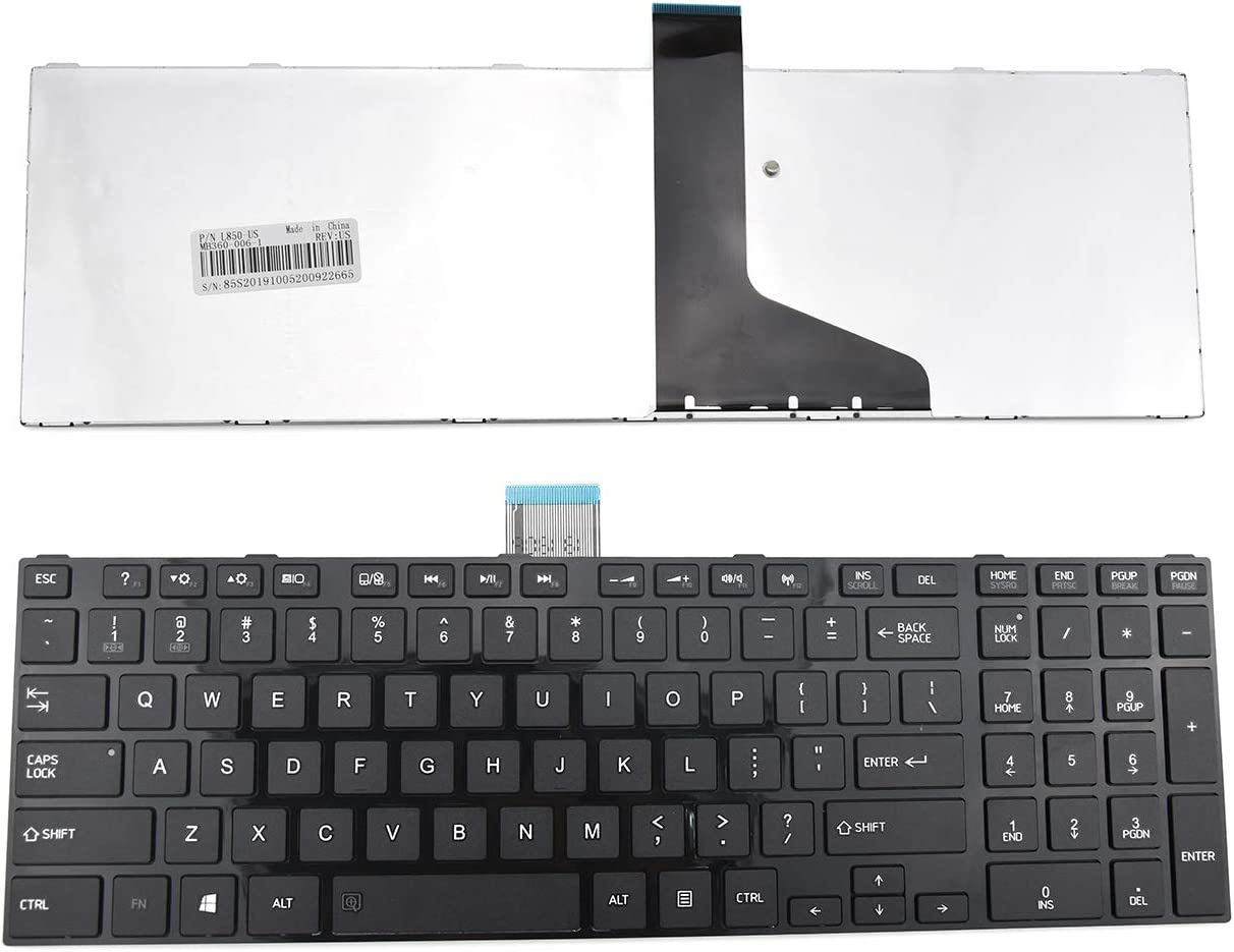 E-ZeeGaa Replacement Keyboard with Frame for Toshiba Satellite L850 L850D L855 L855D L875D C850 C855 C855D Series Black US Layout