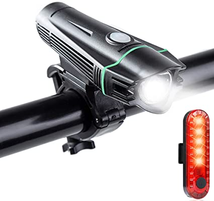 USB Rechargeable Waterproof LED Bright Bike Front Headlight and Rear Tail Light