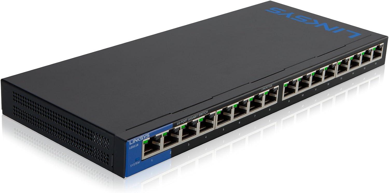 Linksys LGS116-EU - Unmanaged Switch Gigabit de Escritorio para Empresas (16 Puertos, Plug and Play, optimización del tráfico, Ahorro energético), Azul y Negro