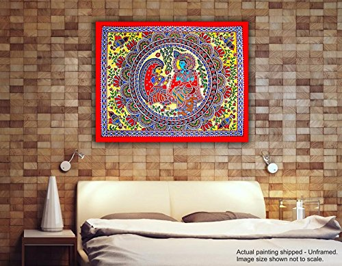 Tamatina Madhubani Canvas Paintings - Lord Krishna & Radha - Radha Krishna Paintings - Traditional Art Paintings - Paintings for Home Décor - Paintings for Bedroom - Paintings for Living Room - Religious Canvas Paintings - Madhubani Paintings for wal