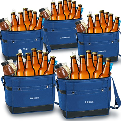 Personlized 12-Pack Blue Cooler Tote - Custom Cooler Bag - Personalized Blue Cooler Bag - Monogrammed Cooler Tote - Set of 5