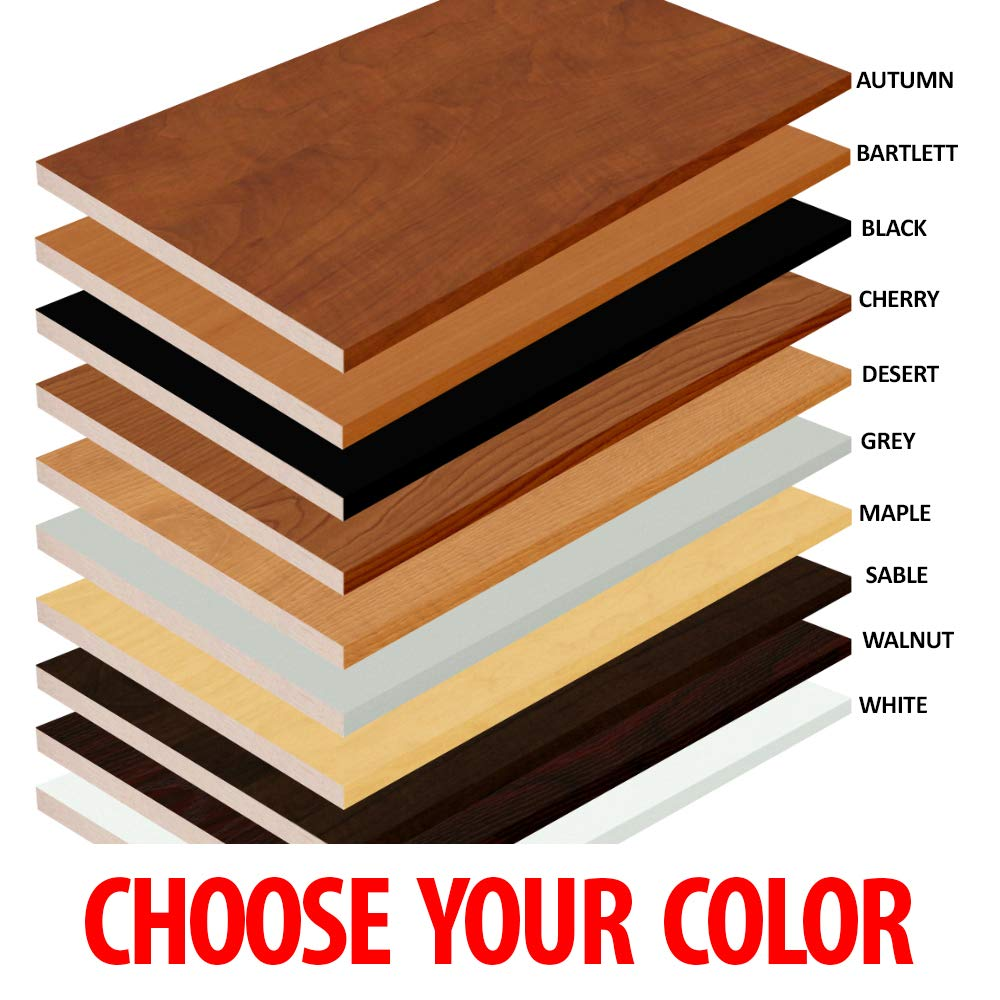 1//8, 1//4, 3//8, 1//2 2 Pack White Black Red or Other Colors Laminate Shelf 10 x 19 Melamine Choose Your Accurate Size