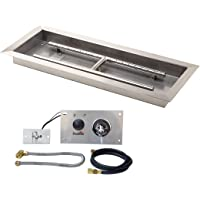 Stanbroil 24 inch Rectangular Drop-in Fire Pit Pan with Spark Ignition Kit Natural Gas Version