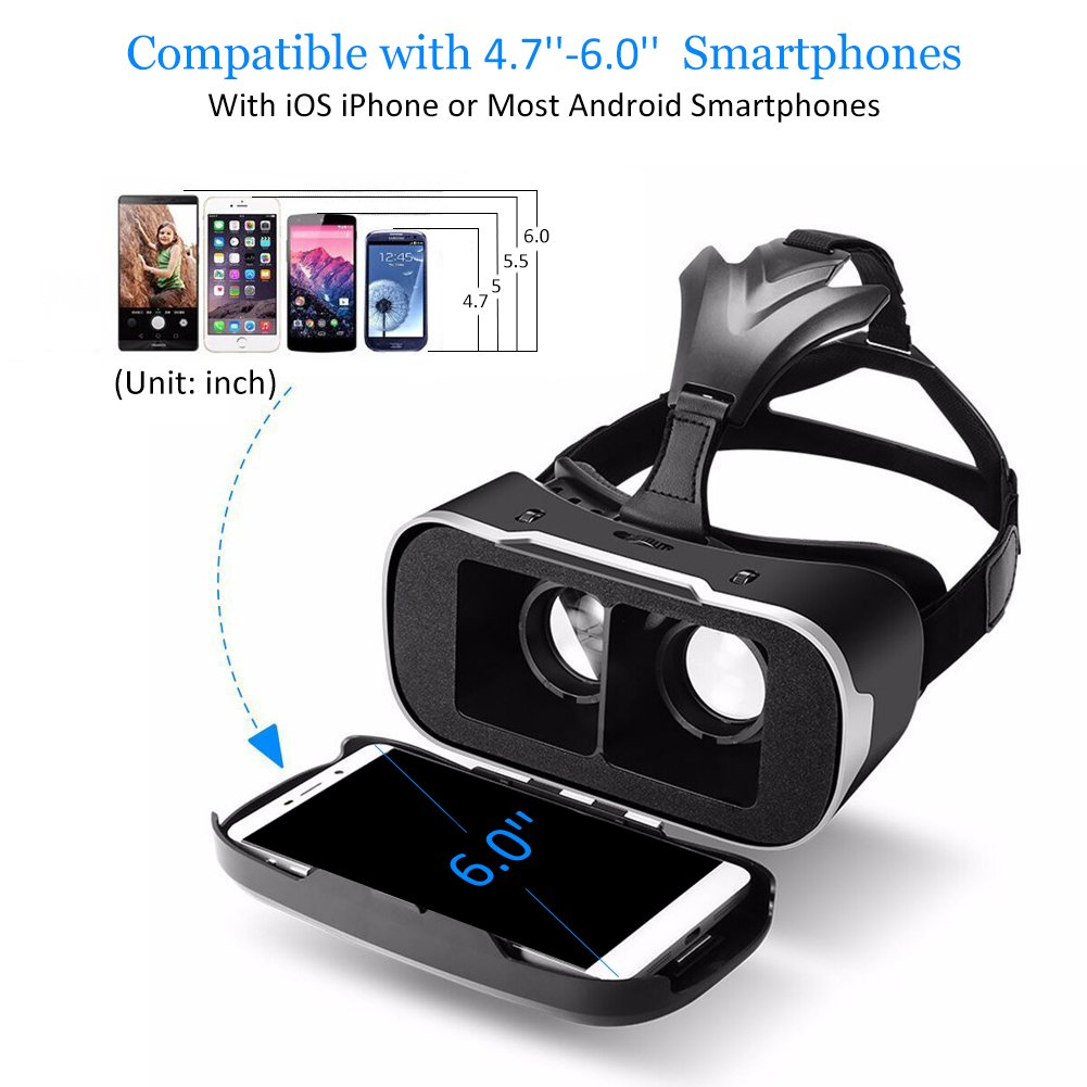 VR HEADSET, BlitzWolf Virtual Reality Headset 3D VR Glasses Movies Games VR with Controller for iPhone, Samsung Galaxy, LG, HTC, Moto, Nexus, Sony Xperia, Lumia and 3.5\'\'-6.3\'\' Smartphone (Upgraded Version)