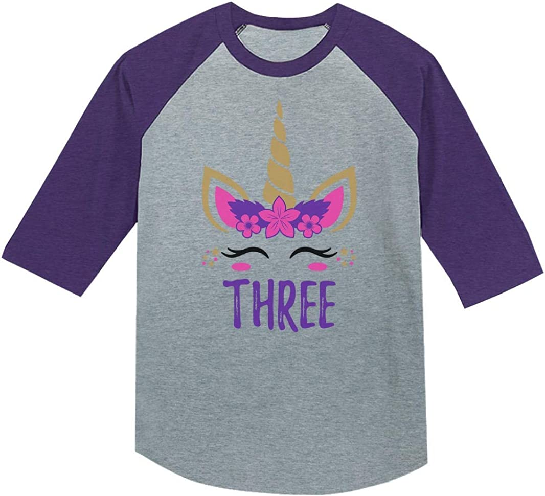 Tstars 3 Year Old Girl Birthday Gift Unicorn 3//4 Sleeve Baseball Jersey Toddler Shirt