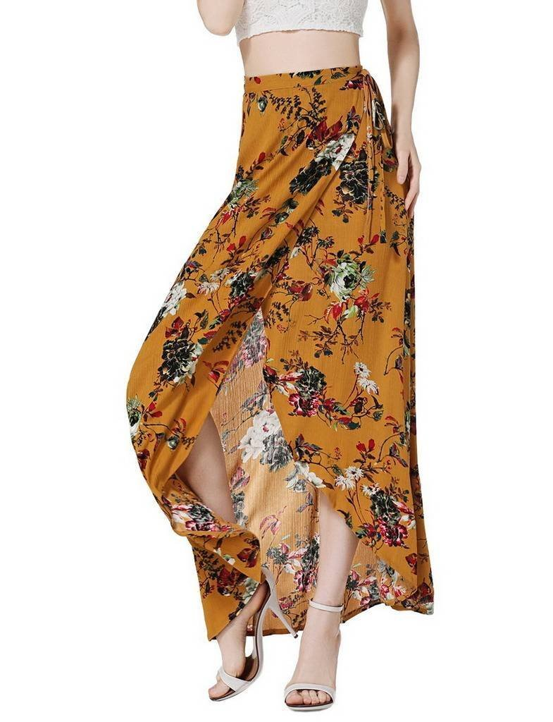 COMVIP Women Floral Print Irregular Drawstring Summer Slit Long Skirt Yellow M