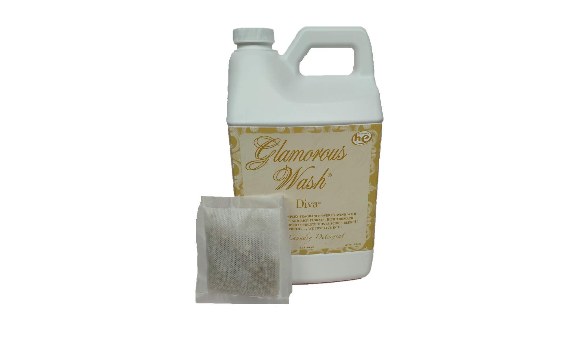 Tyler Candle Glamorous Wash Diva Half Gallon (64 OZ) Laundry Detergent/with Bonus Glamorous Sachet Single Pouch