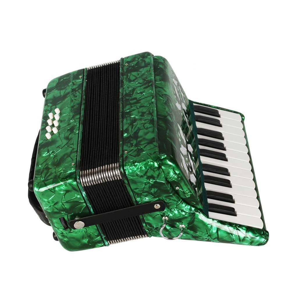 Dilwe Piano Accordion, Maple Wood 22 Key 8 Bass Keyboard Accordion Musical Instrument Toy with Straps Gloves Clean Cloth for Beginners Students(Green) by Dilwe
