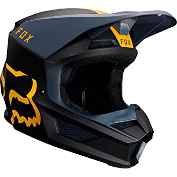 Fox Racing V1 Mata Womens Off-Road Motorcycle Helmet - Navy Yellow/X-Large