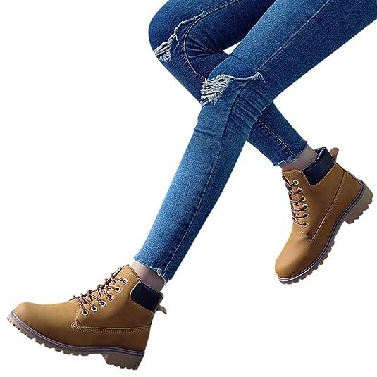 OHQ Botines Mujer Moda Retro Tobillo SóLido Grueso con Cordones Invierno Botas Cortas Punta Redonda Zapatos Casuales CóModo Y Elegante: Amazon.es: Zapatos y ...