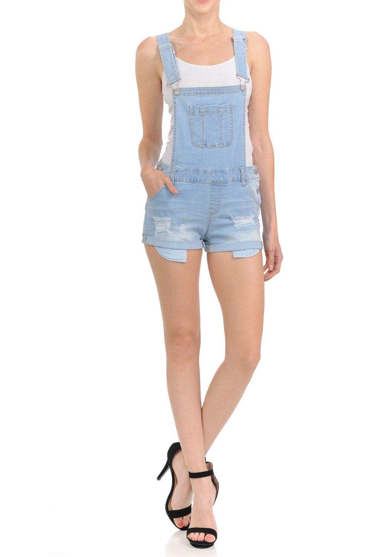 Wax Women's Juniors Overall Jean Shorts w Distressing (Light Denim, Medium)