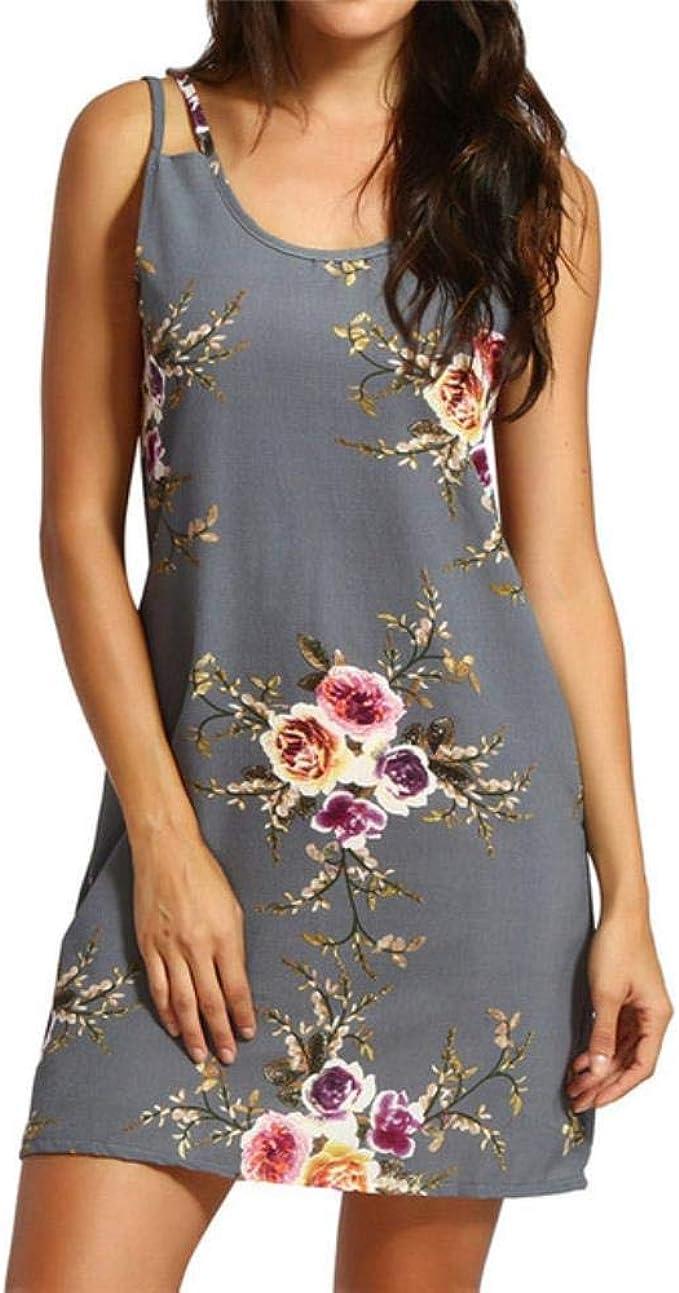 QVC Sommerkleid für Damen, sexy, Blumenmuster, dünn, ärmellos