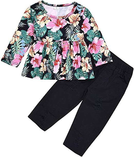 Infant Toddler Baby Girls Floral Hooded Pullover Tops Pants Trousers Outfits VV