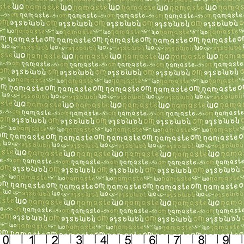 Green Tea Fabric (Michael Miller Fabrics Yoga Green Tea Namaste)