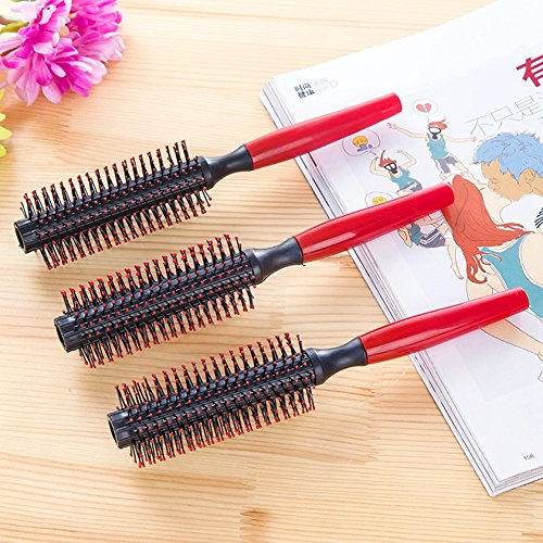 5PC Professional Round Hair Brush Wooden Hair Brush With Boar Bristle Mix Nylon Styling Tools Anti-static (Nylon Mix Hair Brush)