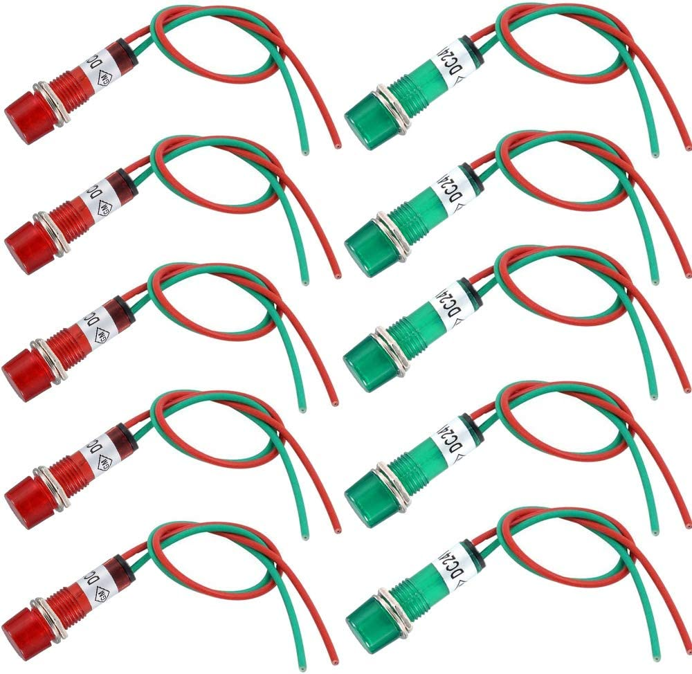RUNCCI-YUN 12 pcs LED indicador luz piloto ,LED indicador de senal ,LED Piloto Dash Indicador de luz ,24v LED Luz Rojo Indicador ,Luces indicadoras montaje en panel (10 mm) Con alambre 19cm
