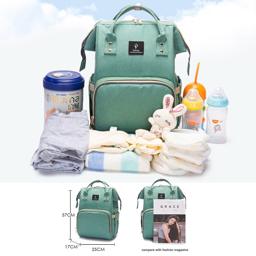 Grey Nappy Changing Backpack with USB Charging Port Insulated Pockets YIMOJI Multi-Function Waterproof Baby Diaper Bag Mom and Dad Travel Backpack Nappy Bag with Stroller Straps