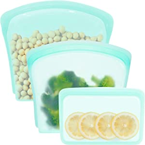 100% Silicone Reusable Storage Bag, Aqua (3 Set, Snack Bag, Sandwich Bag, Gallon Bag), Plastic Free Lunch Bag, Cook, Store, Sous Vide, or Freeze, Leakproof, Dishwasher-Safe, Eco-friendly, Food-Grade