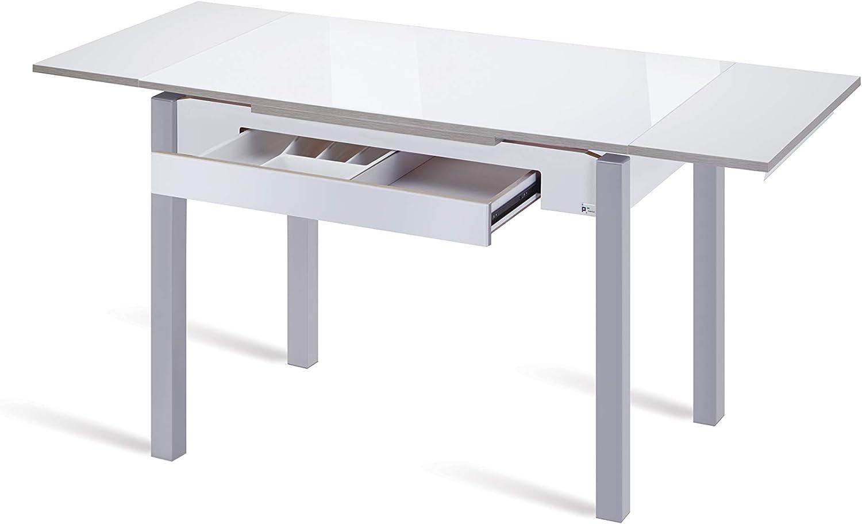 Portus Mesa Armonía, Cristal Blanco Óptico Brillo, 100X60: Amazon ...