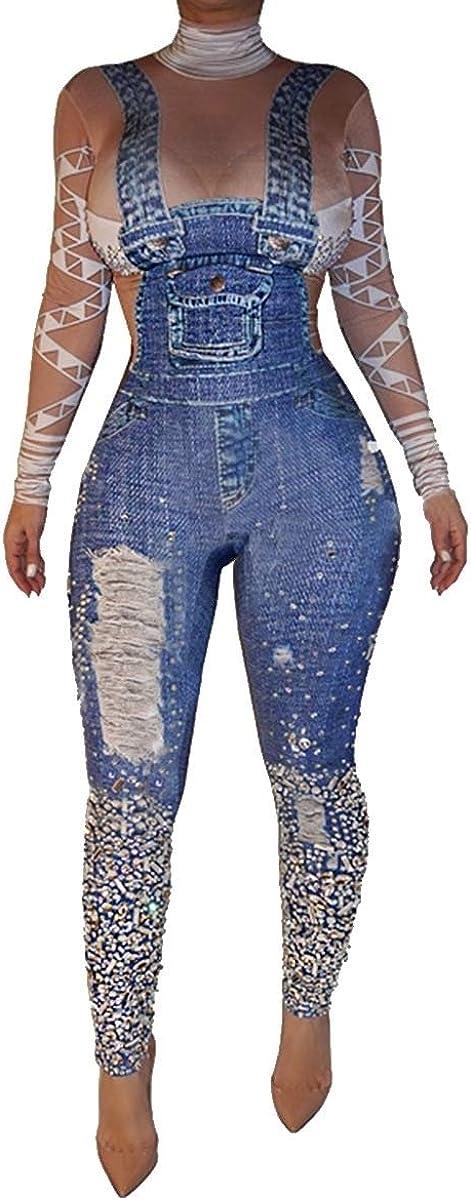 Coolred-Women Sling Washed Turtleneck Jean Pants Set Jumpsuit
