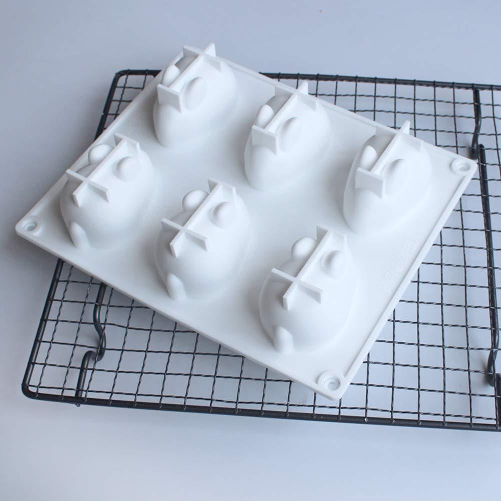 Molde para pastel de mousse Molde para hornear postre franc/és KINJOHI Molde de silicona para conejito de pascua 3D Molde de chocolate para conejo