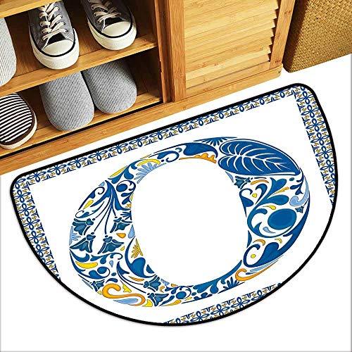 DILITECK Semicircular Door mat Letter O Blue Capital Letter in Framework Portuguese Tile Art Azulejo Floral Design Breathability W31 xL20 Blue Yellow - Tile Capital Decor Blue