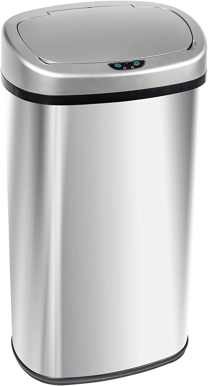 68L Acero Inoxidable Cocina Cuarto de ba/ño Desodorante Bote de Basura Display4top Cubo de Basura Sensor