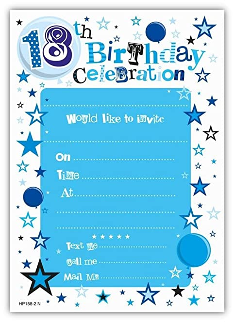 blue 18th birthday party invitations envelopes 20 pack - 18th Birthday Party Invitations