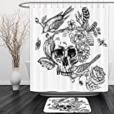 Vipsung Shower Curtain And Ground MatHouse Decor Dead Skull with Flowers Birds and Feathers Gothic Traditional Mexican Calavera Design Decor Red Black WhiteShower Curtain Set with Bath Mats Rugs