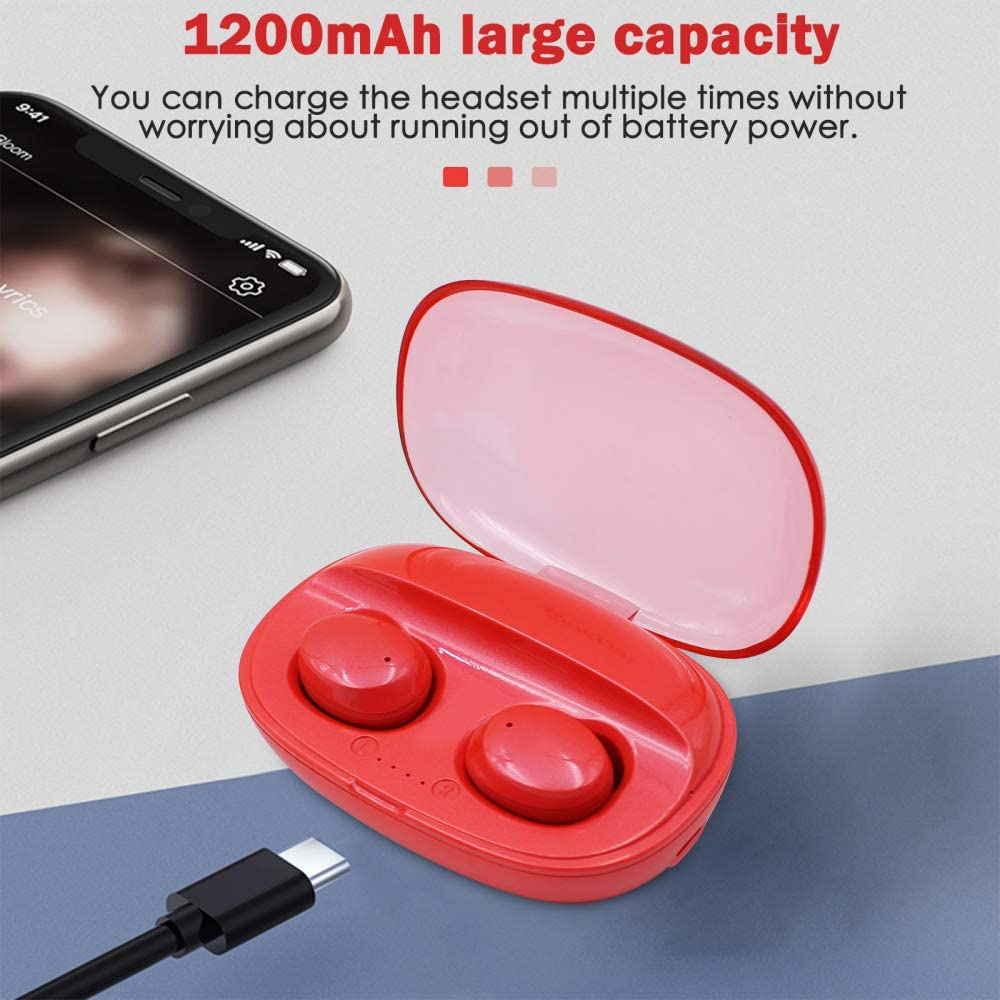 Suitable for iOS /& Android Red Wireless Bluetooth Translator with APP Real Time Translation KacsOo Language Translator Earbuds with 1200mAh Charging Box Supports 80 Languages