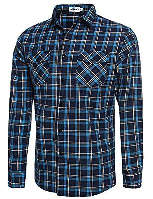 HOTOUCH Men Plaid Shirt Casual Button Down Shirts