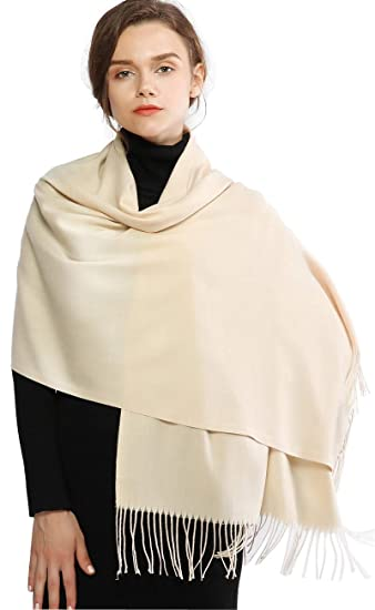 63ac0889cca Cashmere Winter Warm Scarf Pashmina Shawl Wrap for Women and Men Beige Long  Large Soft Scarves
