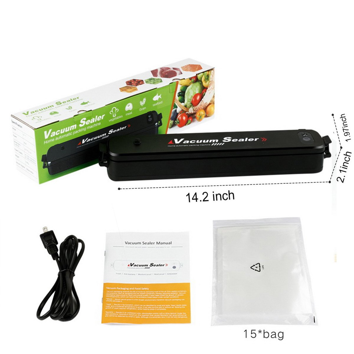 Vacuum Sealer Machine Compact Automatic Vacuum Sealing System for Dry & Moist Foods Preservation and Storage 100~240V 90W Double Capacitance Including 20 Sealer Bags (Black)