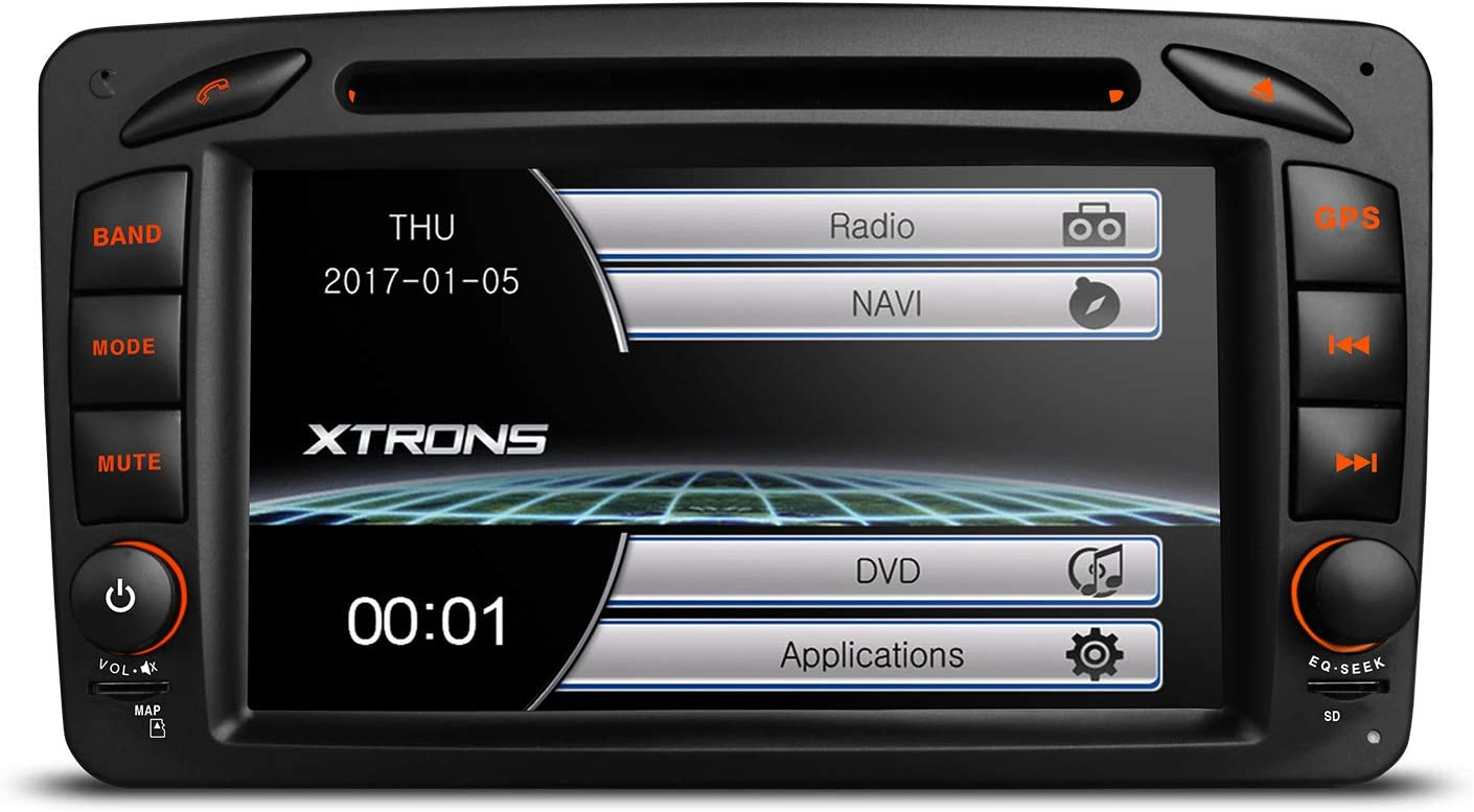 Amazon Com Xtrons 7 Inch Car Stereo Radio Hd Digital Touch Screen Dvd Player Gps Screen Mirroring Dual Canbus For Mercedes Benz C W203 Kudos Map Card Included Gps Navigation