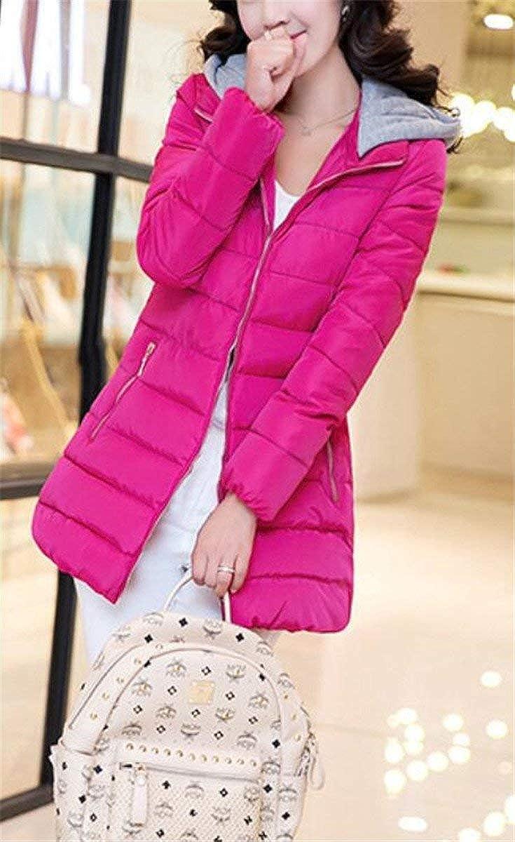 Gabardina Mujer Termica Invierno Plumas Color Sólido Bolsillos Laterales Outwear Manga Larga Modernas Casual con Cremallera Moda Joven Chaqueta con Capucha Rosarot