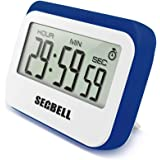 Secbell Multifunction Large LCD Display 12 / 24 Hours Digital Timer. 3 mode - Clock,Countup,Countdown. Accurate to seconds. For Cooking,Study,Games (Blue)