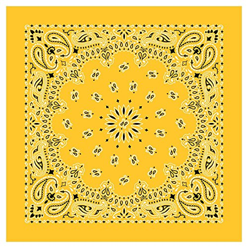 "100% Cotton Western Paisley Bandanas (22"" x 22"") Made in USA - Lemon Single Piece 22x22 - Use For Handkerchief, Headband, Cowboy Party, Wristband, Head Scarf - Double Sided Print]()"